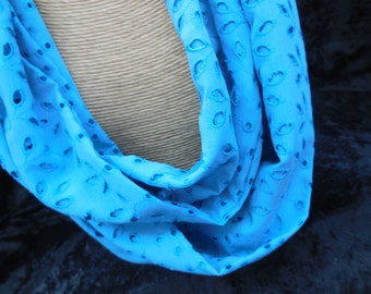 Blue Eyelet Infinity Scarf, Circle Scarf, Summer Scarf, Cotton Scarf
