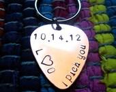 "Guitar Pick Key Chain ""I pick you"", date, and initials"