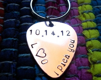 "Guitar Pick Key Chain ""I pick you"", date, and initials"