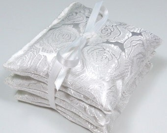 Lavender Sachets in White Satin Brocade - Set of 3