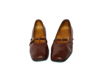 JANE French Vintage Brown Leather Mary jane Low Heels Shoes