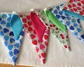 Bright Strawberry Bunting - Fabric Garland, Wedding Bunting, Birthday Banner