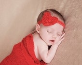 Red Chiffon Baby Headband, Shabby Heart Headband, Red Heart Headband for Baby Girls, Photo Prop, Red Velvet Headband, Red Infant Headband