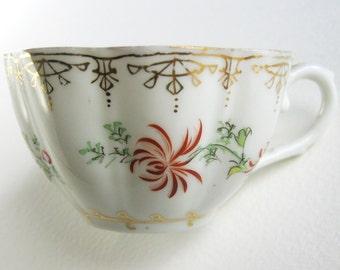 Vintage Porcelain Teacup Eggshell Delicate Translucent Hand Painted Floral