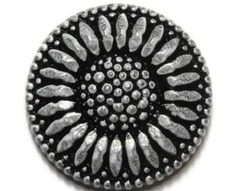 Sunburst Flower Silver Czech Glass Button Top Cabochon 28mm