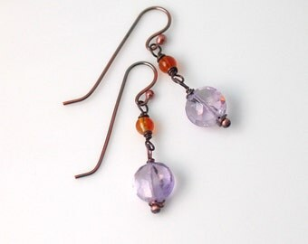 Amethyst and Citrine Dangle Earrings, Lavender and Golden Handmade Drop Earrings, Wire Wrap Copper Earrings