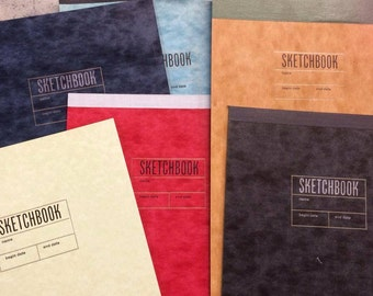 Sketchbooks with letterpress printed covers and a variety of papers