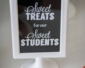 Black and White CHALKBOARD Party Printable Sweet Treats Sign for Dessert Table 4x6 and 5x7