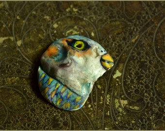 Bird shell handpainted sea shell  OOAK - Handmade jewelry sculpt