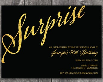 Gold Surprise Party - Custom DIGITAL Birthday Invitation for any age
