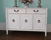 vintage bambboo buffet cosole white shabby chcic distressed beach cottage 1960s flat screen tv stand