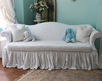 shabby chic sofa couch ruffle roses white chenille bedspread slipcover cottage prairie