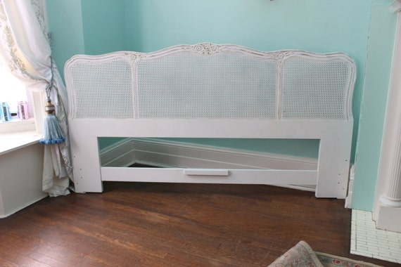 vintage t te de lit blanc shabby chic en d tresse cottage bed. Black Bedroom Furniture Sets. Home Design Ideas
