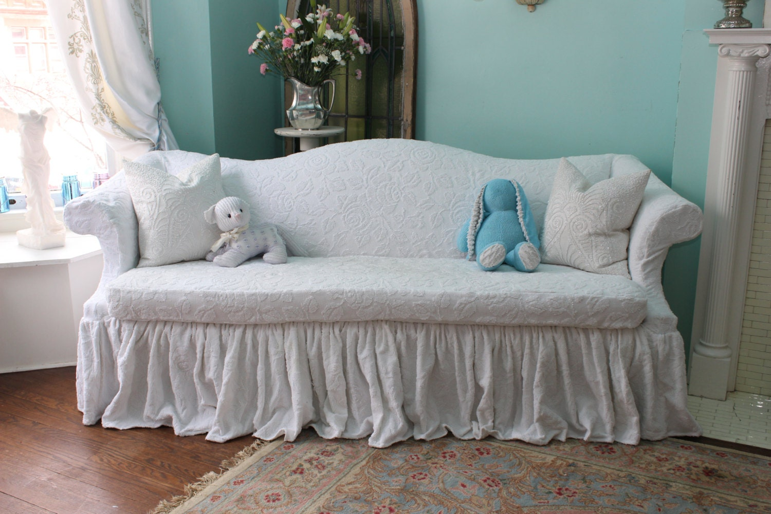 shabby chic sofa couch ruffle roses white by. Black Bedroom Furniture Sets. Home Design Ideas