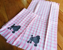 2 OOAK Pink Checkered Poodle NOS Towels Guest Kitchen Hand, Gray Poodle Towels, Never Used Towel, Machine Embroidery