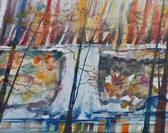 Autumn Fall Watercolor Painting, Autumn Art, Fall Art, Fall Decor, Landscape Art, Home Decor Art, Autumn Art, Art for Office, Autumn Leaves