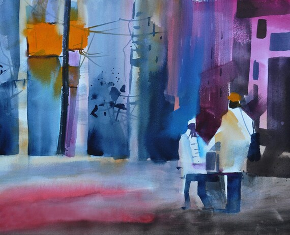 City Stroll Watercolor Painting African American Art By