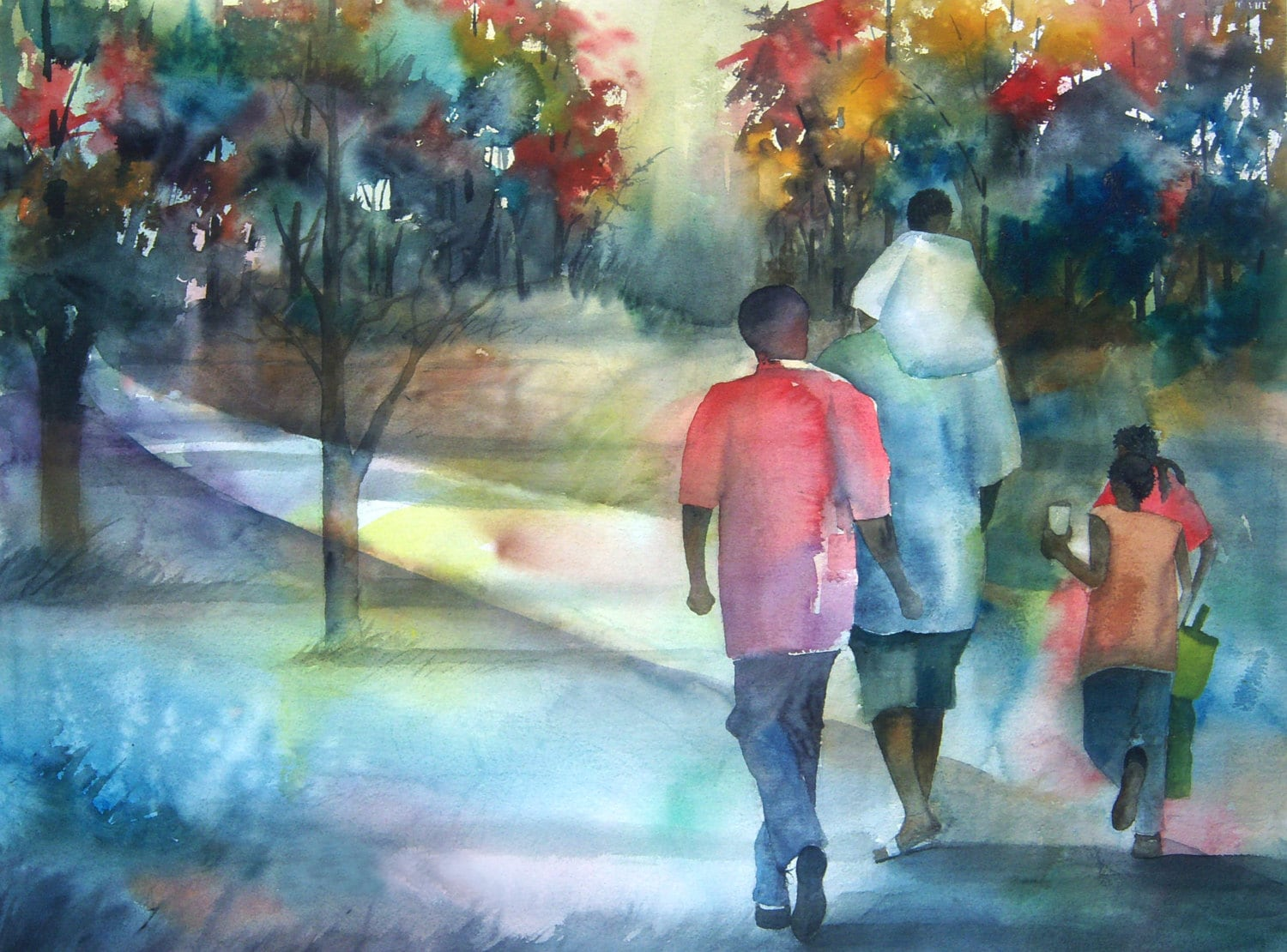 Family Time Watercolor Painting African American Art By