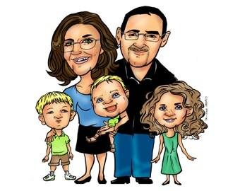 Custom Family Cartoon Caricature Portrait, Personalized Cartoon Caricature Digital Photo Gift, Cartoon Caricature Family Reunion Photo