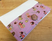 List Taker, Organizer, Coupon Holder,  Winking Owls in Pink, Notepad And Pen/Pencil Included