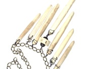 powerful tribal statement necklace giant white sea urchin spine antique brass chain