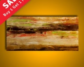 Abstract painting original palette knife 48x24 modern art by Elsisy. Free US shipping