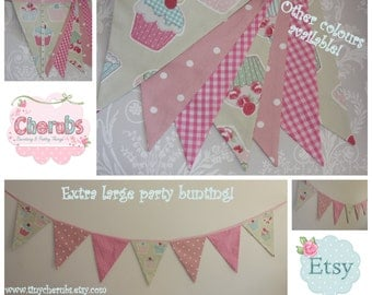 Extra Large Bunting with Cupcake fabric can be custom made to order Birthday Party or Celebration or Photo prop