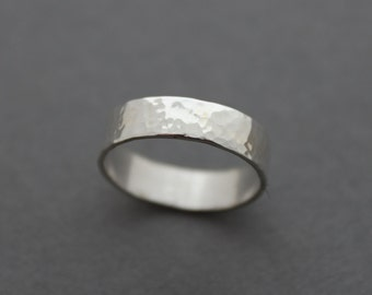 Men's Sterling Band ring - Wedding Ring - Size 8.25 US - rugged Thumb ring - hammered silver band