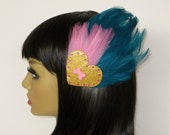 Gold Heart Hair Clip Teal And Pink Feathers Pin Up Burlesque Sparkly Glitter