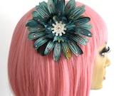 Teal Wheel Hair Flower