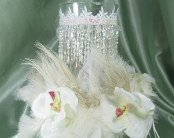 White Ivory Orchid and Peacock Feathered Wreath with Beaded Hurricane Candle Holder Wedding Centerpiece