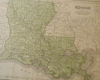 1911 State Map Louisiana - Vintage Antique Map Great for Framing 100 Years Old