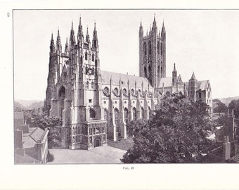 1909 Architecture Church Print - Canterbury Cathedral England - Vintage Antique Art Print History Great for Framing 100 Years Old