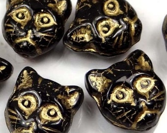Czech Glass Beads Cat Faces Beads Jet - Gold Inlay (8) (12mm ) (C310)