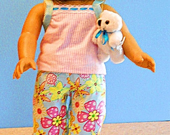 American Girl Doll Clothes - Aqua Floral Print and Pink Stripe Tank Style Pajamas - 18 Inch Doll Clothes