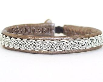 SwedArt B12 Sami-Lapland Leather Bracelet-Pewter Braid-Antler Button-Bronze-X-SMALL