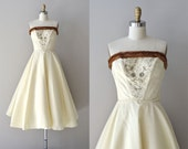 Mechta wedding dress | mink-trimmed 1950s wedding dress • vintage 50s dress
