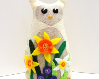 Sale- felt owl for Spring - 8 inch stuffed owl with garden of daffodils and purple flowers