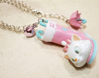 Rare Disney Marie Cat Rainboot Necklace. Japan.