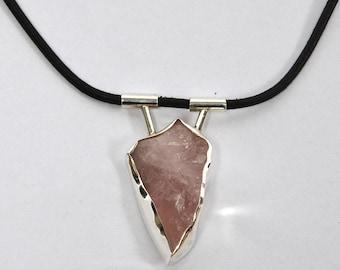 Unique Rose Quartz Sterling Silver necklace with black leather cord