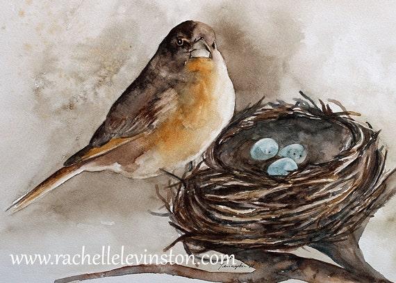 Items Similar To Watercolor Painting Bird Print Bird