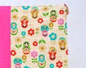 Matryoshkas Baby BLANKET with Organic Flannel with Pink - Nesting Dolls Girls Blanket - Eco Friendly Kids Bedding (Ready to Ship)