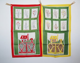 Vintage Pair of Kitchen and Herb Garden Williamsburg Linen Towels