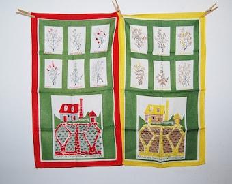 Vintage Pair of Kitchen and Herb Garden Williamsburg Linen Towels