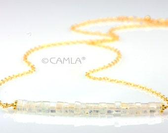 SALE Gold Moonstone Heishi Necklace