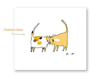 Headbutt Cat print- CUSTOM Colors- Custom Cat Gift