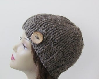 Knit Hat, Winter Hat, Chunky Beanie Hat, Womens Hat, Teens Hat  - Barley with Coconut Shell Button - Ready to Ship - Direct Checkout