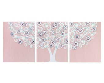 Pink and Blue Nursery Wall Art - Textured Tree Painting Canvas Triptych - Large 50x20