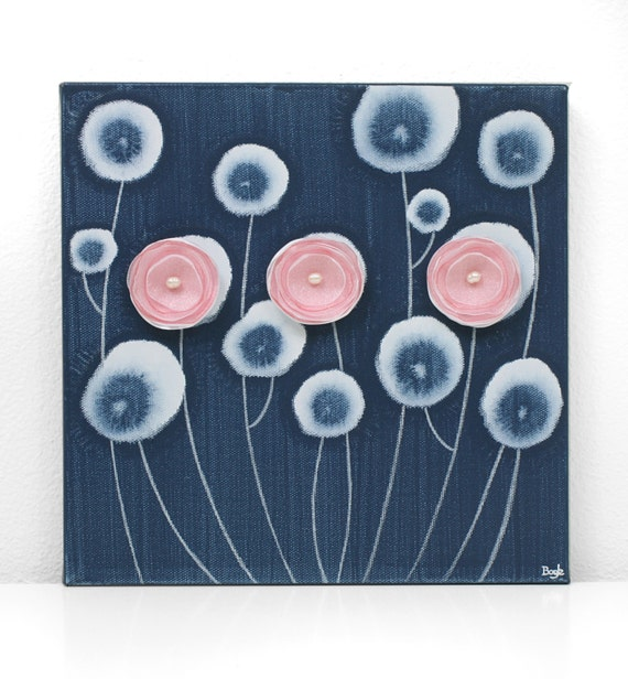 Baby Girl Nursery Decor - Blue and Pink Flower Canvas Art - Small Painting 10X10