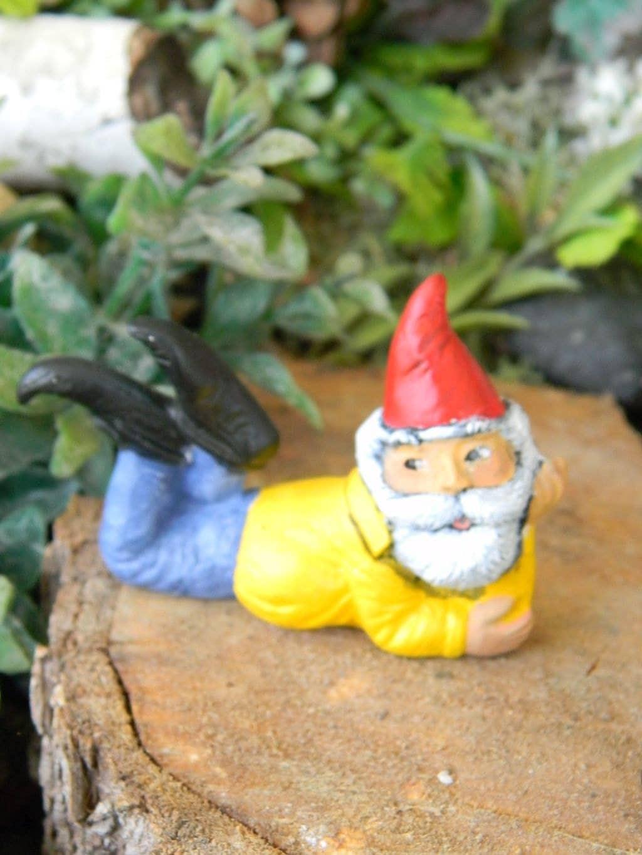 Miniature Garden Gnome Laying Gnome By Enchantdmushroomland